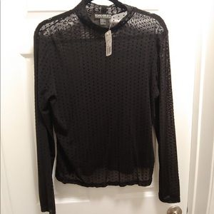 Sheer Long Sleeve Black Polkadot Top